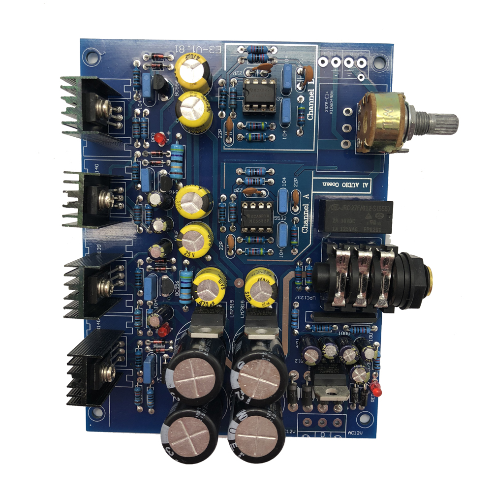 Lusya NE5532 Headphone Amplifier Board Toshiba BD139 BD140 for 32-600 ohm  Headphone impedance AC 12V-15V T0288