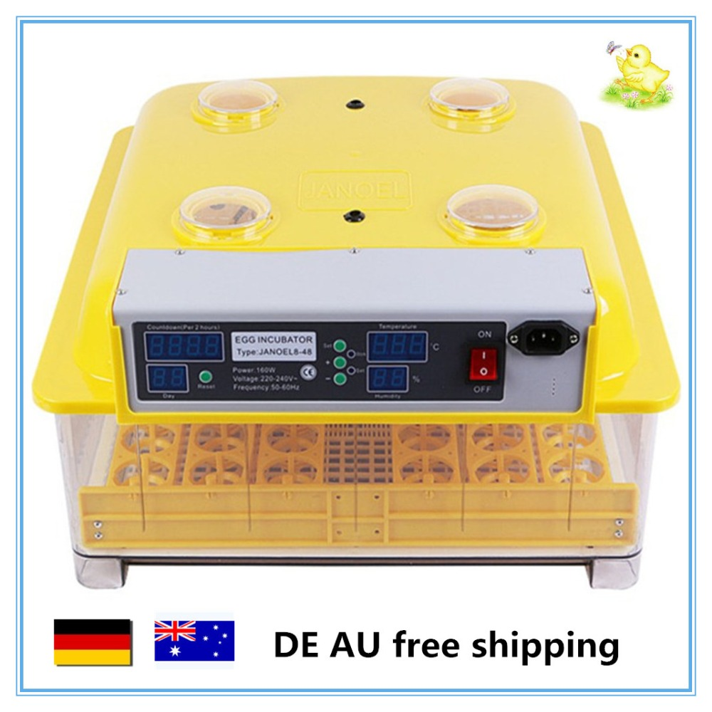 Mini chicken egg incubator automatic 48 eggs hatching machine for sale DE AU free shipping high quality best selling mini industrial egg incubator of 48 eggs for sale commercial hatcher incubadora de huevos automatica