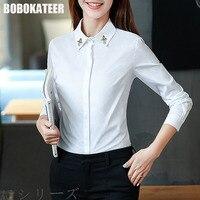 BOBOKATEER White Blouse Shirt Women Tops Long Sleeve Top Women Blouses Vetement Femme Blusas Mujer De