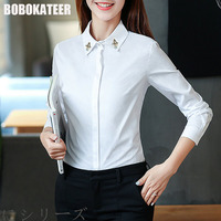 BOBOKATEER White Blouse Shirt Women Tops Long Sleeve Top Women Blouses Vetement Femme Blusas Mujer De