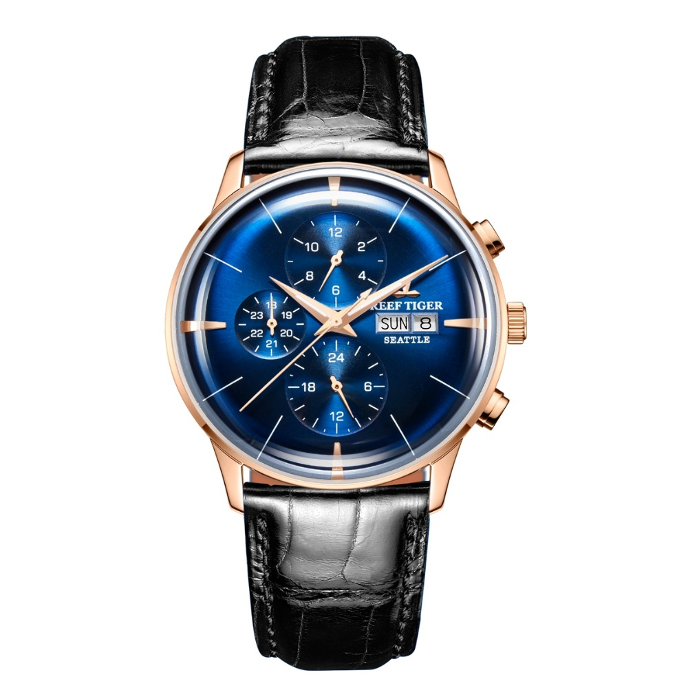 Reef Tiger Classic Serier RGA1699 Men Fashion Business Dress Dual Calendar Automatic Self-wind Mechanical Wrist Watch - Rosegold self tie dual pocket front dress