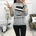 Мультфильм Мода Старики печати пуловер tee shirt женщины повседневная топ костюмы с длинным рукавом футболка женщины хлопок майка CG10006