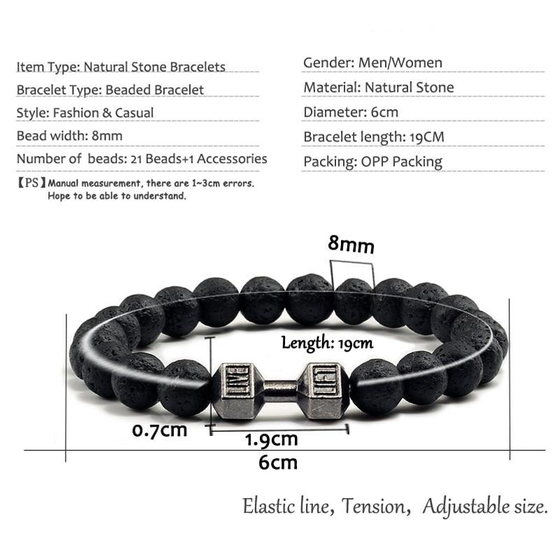 14 Style Natural stone Metal Dumbbell Lava Stone Beads Bracelets Bangles Women Jewelry Men Bracelet Couple Pulseras Hombre mujer