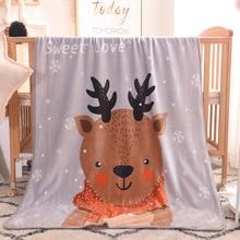 Зимнее теплое Фланелевое детское одеяло с рисунком оленя; детское одеяло до колена для офиса; детский коврик для малышей; детское одеяло; ковер