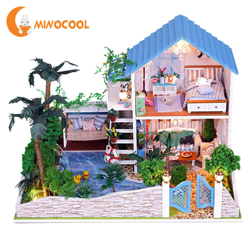 DIY Wood House Romantic Full House with Stars Handmade Doll House Toy Wooden Miniatura Doll House With Furniture LED Lights