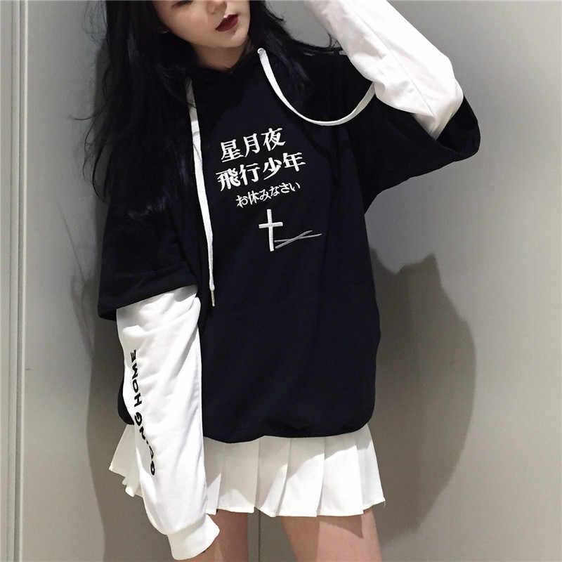 LMCAVASUN Harajuku נים סווטשירט יפני מכתב רקמת נשים אימונית BF סגנון לבן שחור נקבה סלעית סוודרים