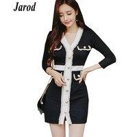 New fashion 2019 Spring Women Single Breasted Tassel Tweed Patchwork Sexy V Neck Dress Bodycon Pencil Mini Dress Vestidos