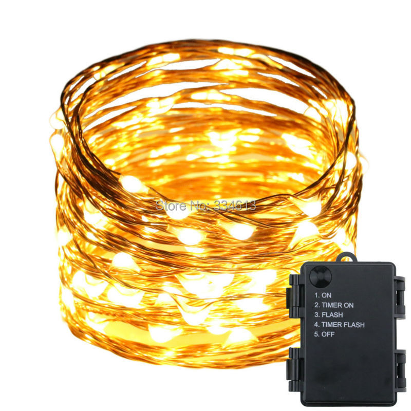 3AA Battery Operated 5Mode 10M 100LED Waterproof Fairy String Lights Copper Wire Outdoor Christmas Wedding Party Timer Lights