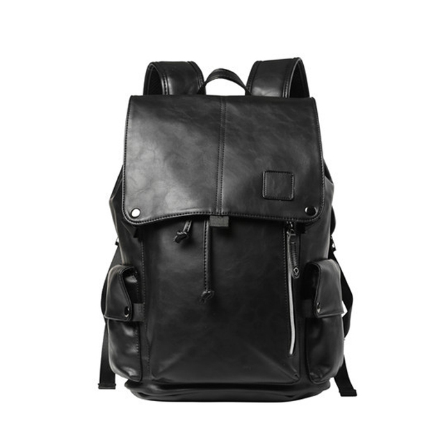2017 New Preppy Style PU Leather Men Black 16 inches Backpack Fashion Male  Casual Boys School Shoulder bags for Men s Backpack 4acb1fd783e3b