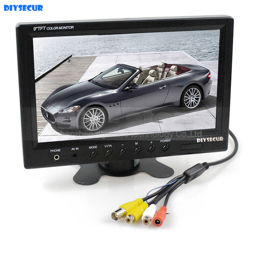 DIYSECUR 9 inch TFT LCD Video Security Monitor Display Reverse Rear View Monitor Screen with BNC / AV Input Remote Control