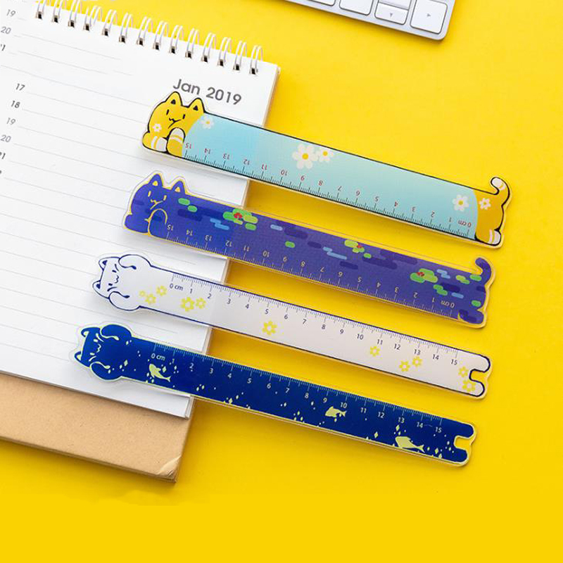 1 Pcs Cartoon 15cm Animal Cat Sunflowers Starry Sky Acrylic Rulers Measuring Straight Rulers Bookmark Gift Korean Stationery