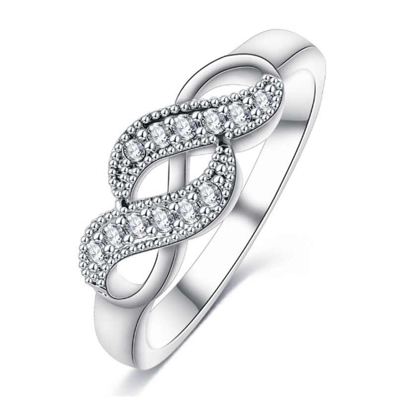 ba1332ec4 2019 New Silver Color Infinity Ring For Women Cubic Zirconia Finger Rings  Part Brand Rings Wedding