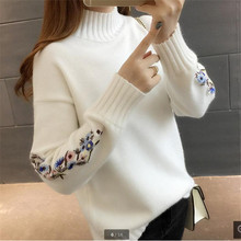 High quality women fashion 2018 Turtleneck sweater women top woman long sleeve warm sweaters Embroidered Knitted pullover B3965