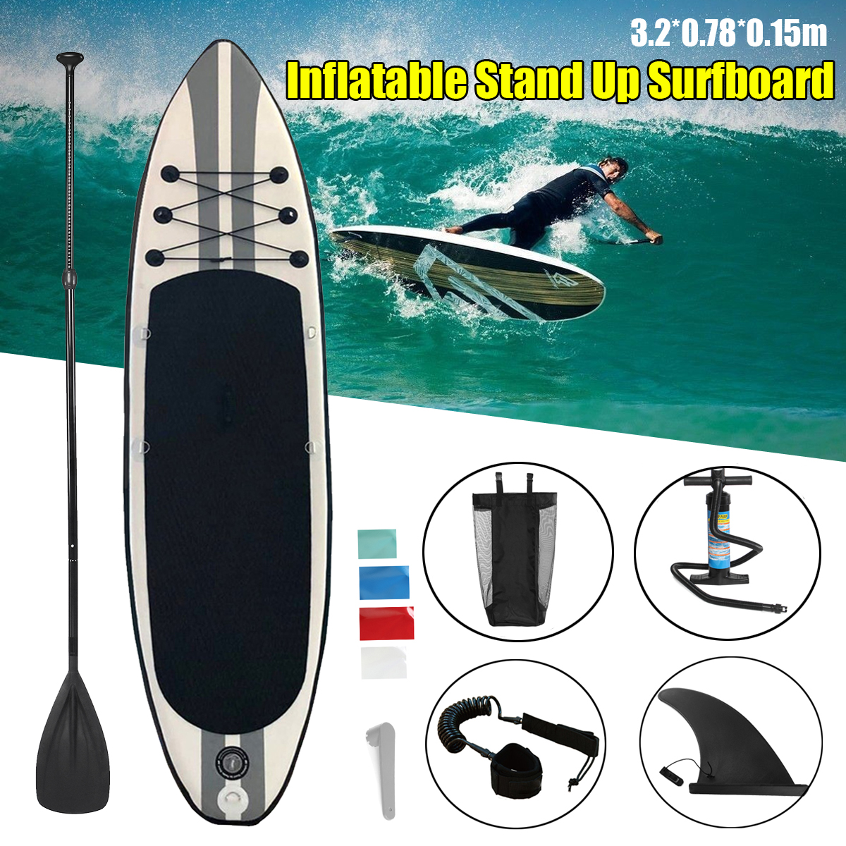 SGODDE Inflatable Stand Up Paddle Surfboard Surfing Board Water Sport Sup Board with Paddle Pump Foot Safety Rope 320x78x15cm