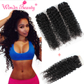 Wonder beauty brasileiro do cabelo weave bundles com encerramento kinky curly 4 pcs lot tissage bresilienne avec fechamento tecer mais barato online
