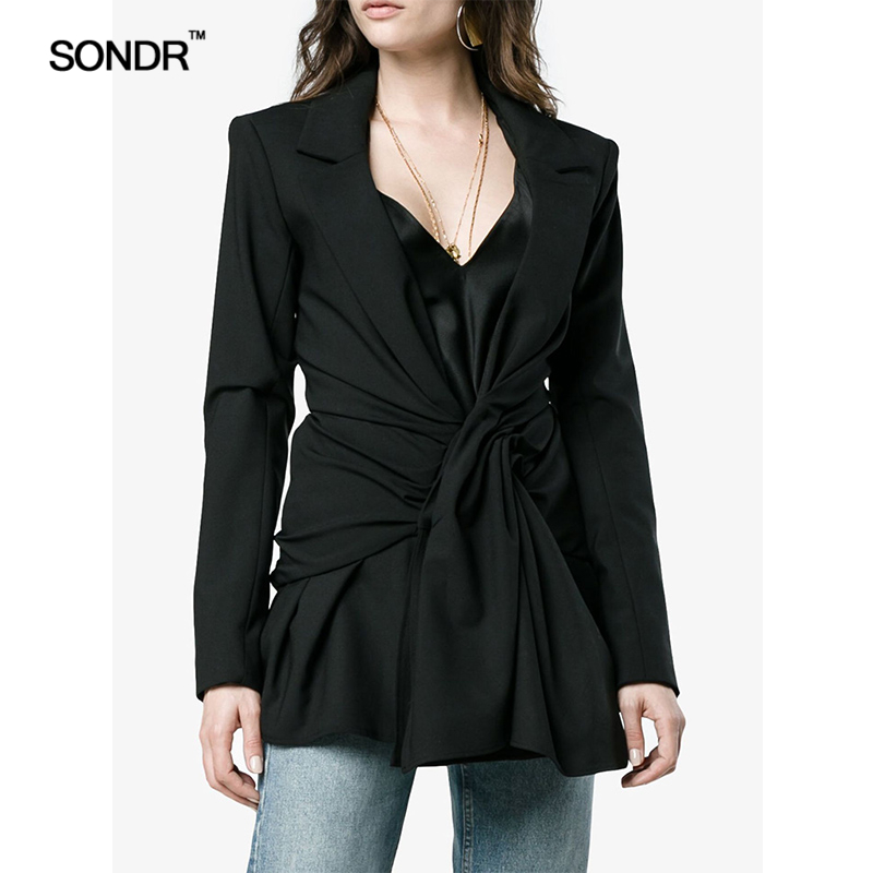 SONDR Spring/Autumn Period New Europe United States About Female Black Twill Long Deep V Suit Collar Collar Dress Suit Jacket