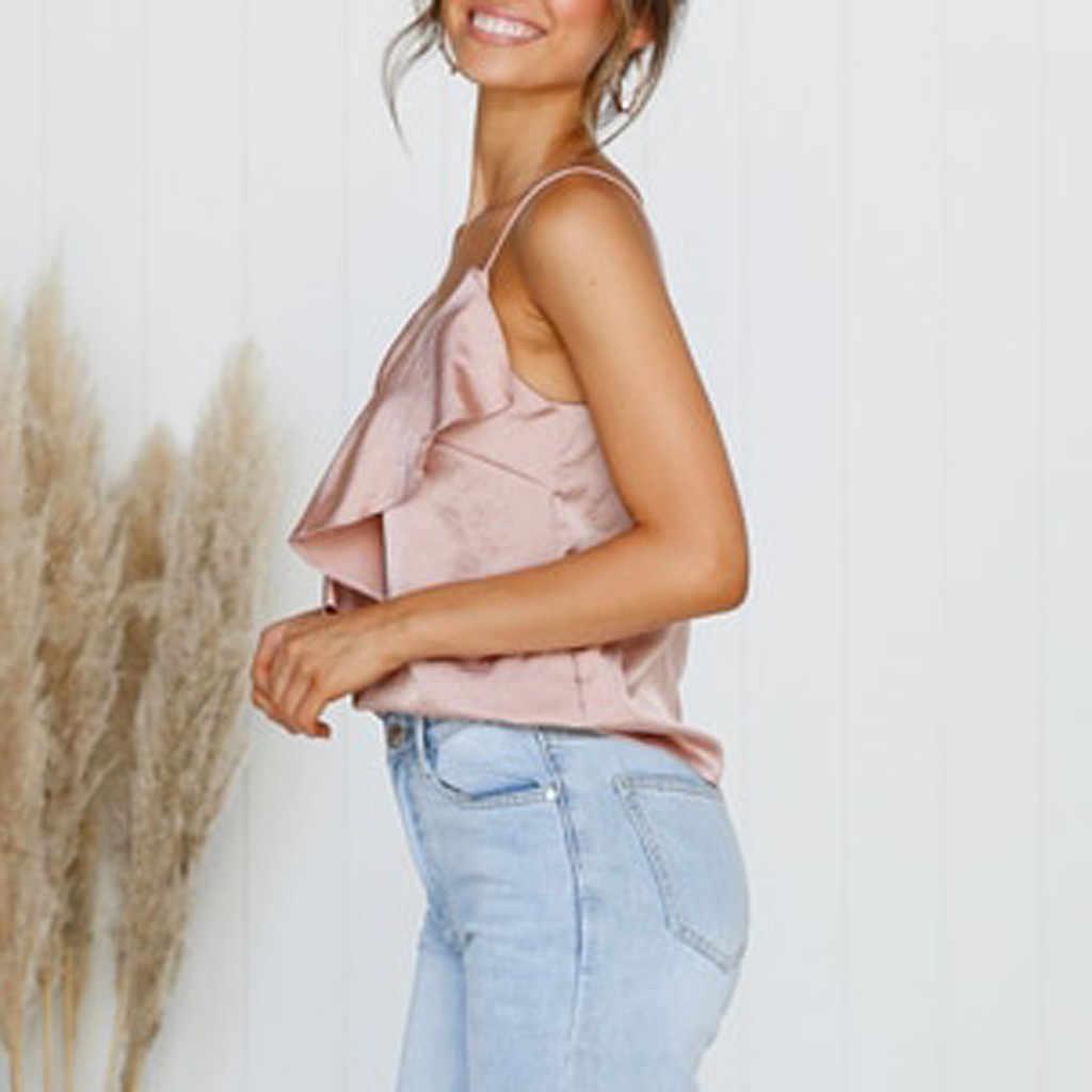 ピンククロップドタンクファッション女性キャミソールフリルベスト純粋な色セクシーなトップス簡単ブラウスネックフリルシャツ弾性キャミソールベスト #2