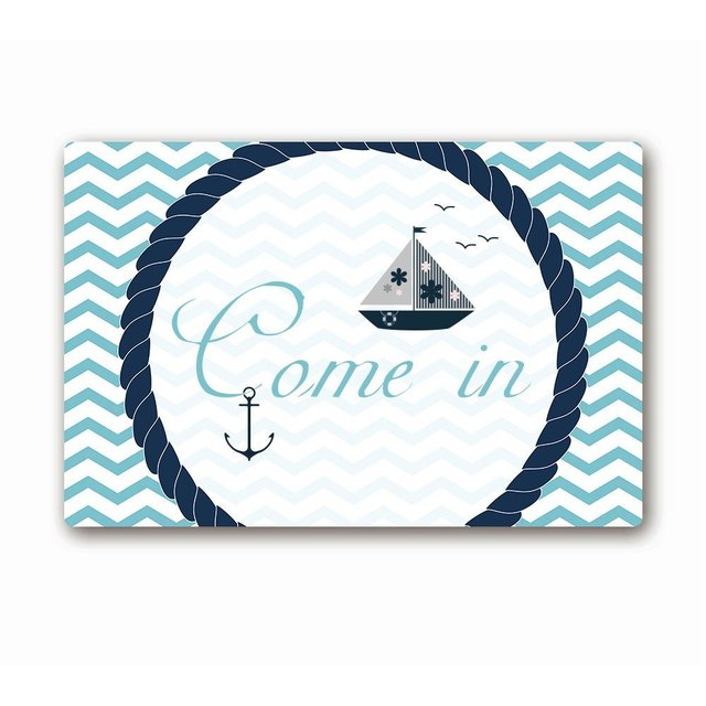Ailovyo Come In Quote Nautical Sail Theme Mint Chevron Non Slip Entry Way Floor Mat