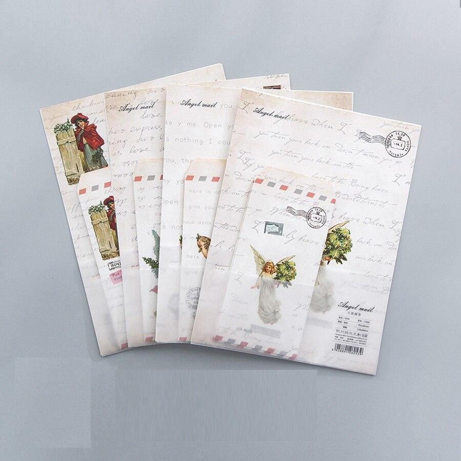 9 Teile/satz 3 Umschläge + 6 Writting Papier Engel Mail Umschlag Für Geschenk Schreibwaren Schule Liefert