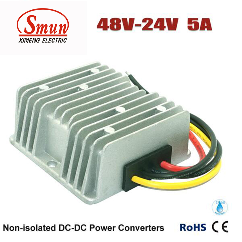 SMUN 48V TO 24V 5A 120W DC DC Step Down Converter Car Power Supply dc 24v 36v 48v 60v 15v 72v to 12v dc dc converter step down buck module power supply f electric storage battery car ce rosh