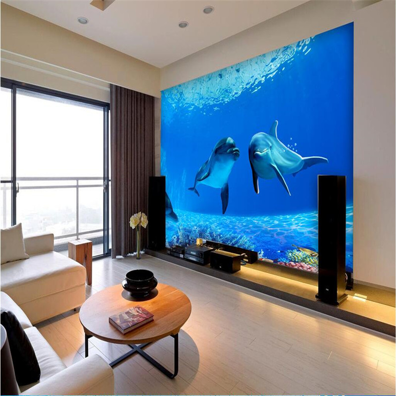 Photo Wallpaper High Quality Silk Cloth Deep Sea Dolphin Backdrop Modern Decorative Paintin 3d Large Mural In Wallpapers From Home