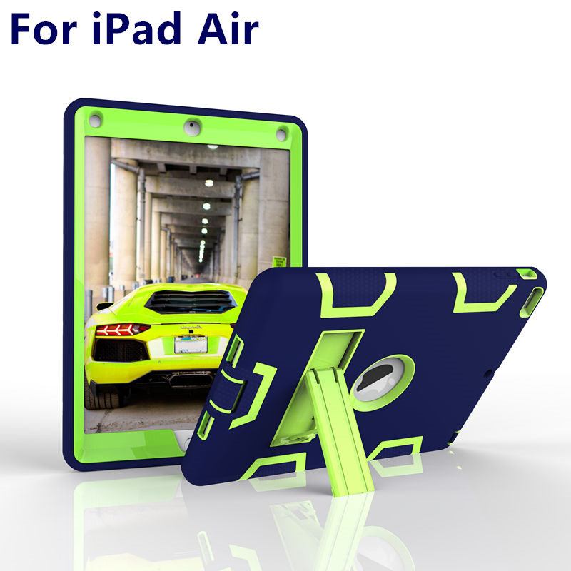 Case For Apple iPad Air Case 9.7 inch Air1 Armor Shockproof Heavy Duty Silicon+PC Stand Smart Cover Protective shell TPU Cases ctrinews for ipad air 1 case clear transparent soft tpu silicone back case for apple ipad 5 air 1 tablet pc protective cover