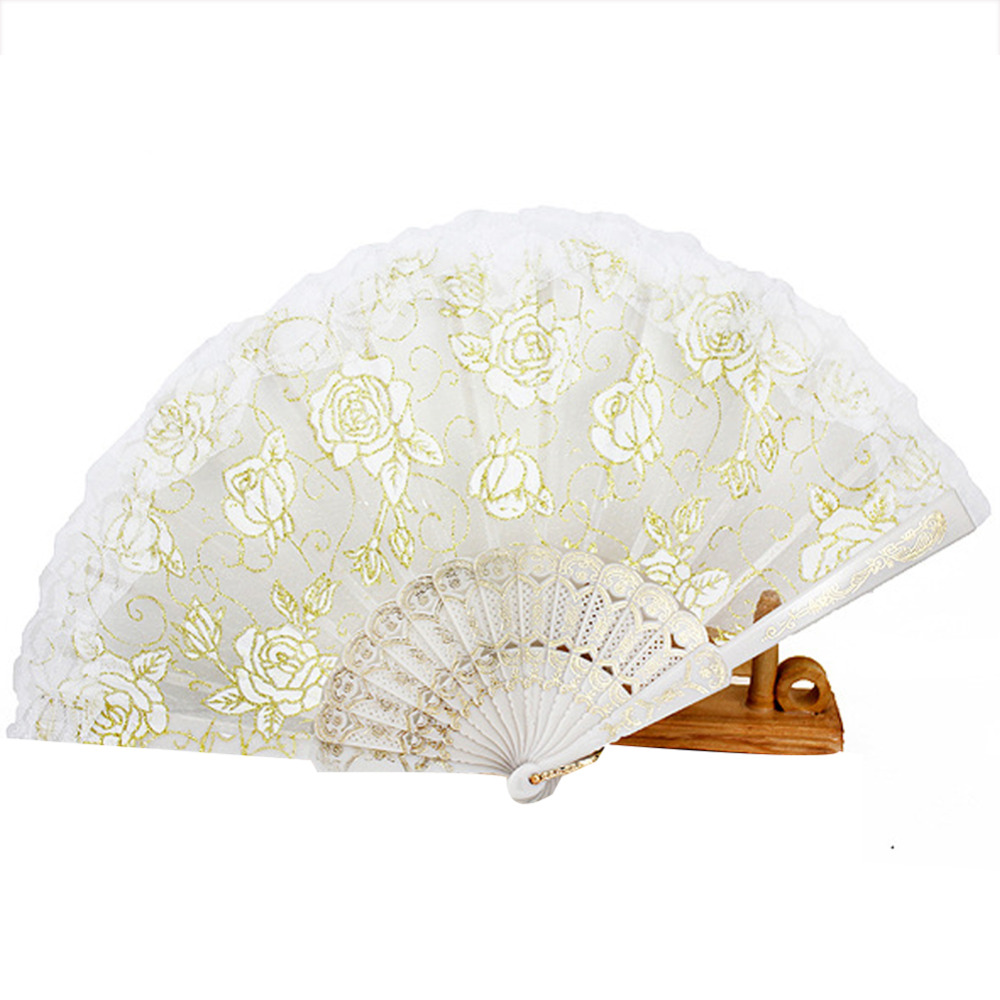 1Pc Handmade Lace Folding Hand Fan Chinese Fan dance Party Bridal ...