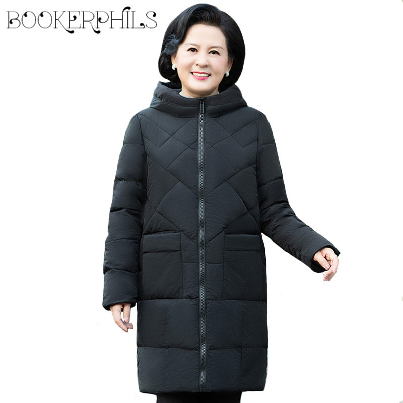 Big Size Middle Aged Women Jacket Winter Long Loose Casual Female Winter Coat Plus Size 5XL Female   Parka   Wadded Mother   Parkas