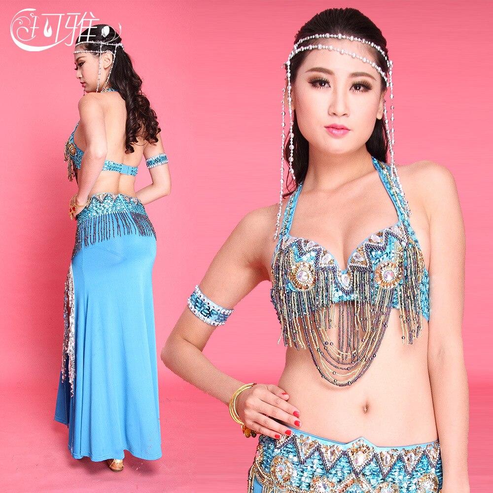 4 pièces (soutien-gorge + ceinture + jupe + bracelet) ensemble de Costume de danse du ventre egypte Bollywood costumes de danse indienne rouge/bleu/vert vêtements de danse