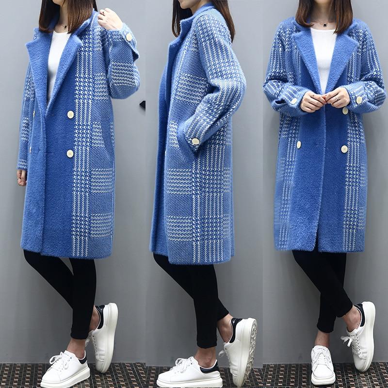 Élégant Plus K4252 Veste Blue Taille Vison Fourrure Manteau Faux Manteaux La Imitation Femelle De Hiver Vêtements À Haute Carreaux Femmes Couture pXTHT
