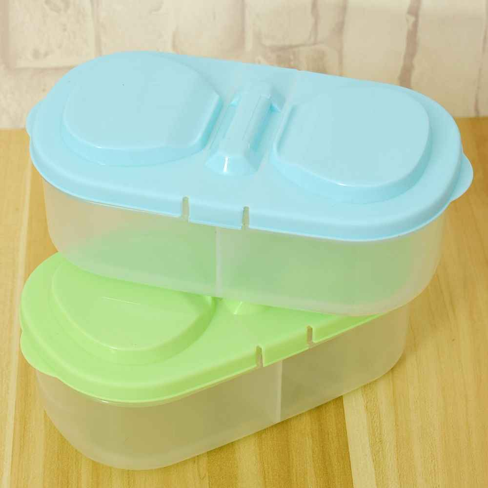Double Storage Box Fresh Fruit Snacks Storage Kitchen Container Plastic Sauce Food Box Crisper Household Storage Collection