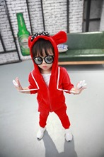 Three - dimensional cartoon velvet men and women thickening sweater two sets children shirt and pant suit age from 2-6T