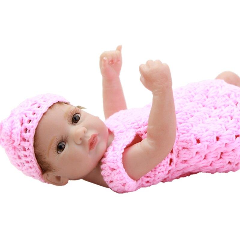 Handmade 11 Inch Reborn Doll Baby Boneca Full Silicone Vinyl Newborn Realistic Babies Little Peanut Princess Girls Kids Playmate