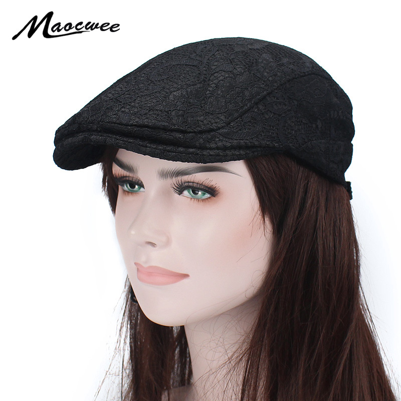 Cap Beret-Hat Textile-Decoration Lace Knit Embroidered Female Hollowed-Out Breathable