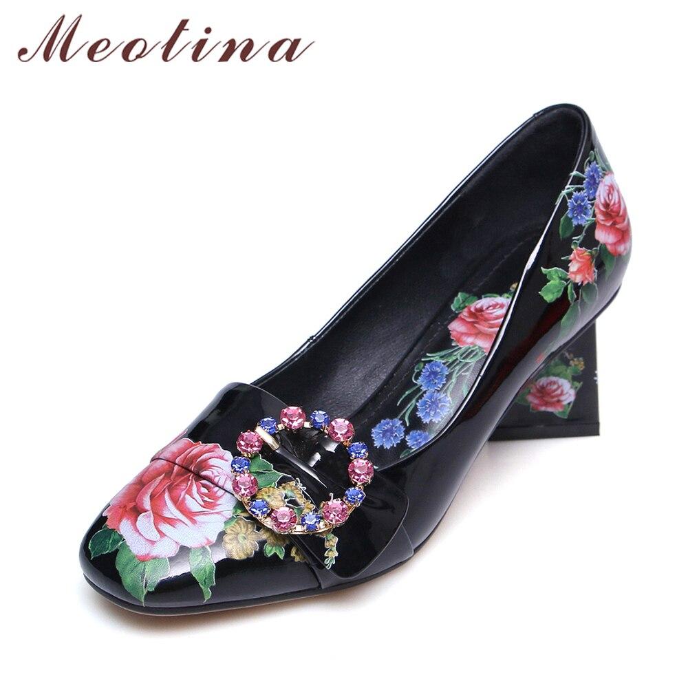 цена на Meotina Women Pumps High Heels Flower Women Shoes Shallow Spring Rhinestone Women Party Shoes Large Size 34-42 Chaussure Femme