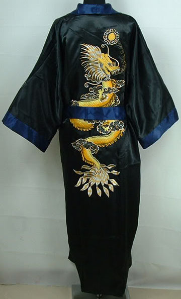Novelty Embroidery Dragon Male Reversible Satin Robe Chinese Men Traditional Sleepwear Vintage Kimono Bath Gown One Size S0035