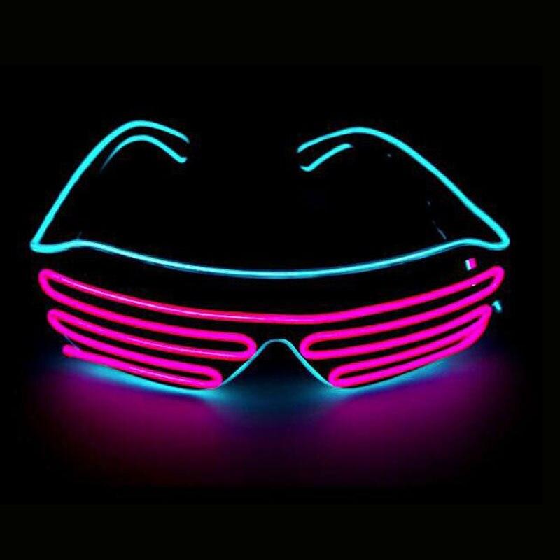 Неоновые вечерние EL очки EL Wire неоновые Светодиодные Солнцезащитные очки светящиеся очки Rave костюм вечеринка DJ Солнцезащитные Очки День Рождения Декор - Цвет: pink VS sky blue