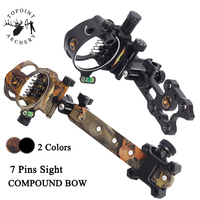 1pc Archery Compound Bow Sight 0.019 Optic Fiber Micro Adjust 7 Pin Retina Sight With Sight Light Hunting Shooting Accessories