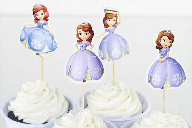 Princess Sophia cupcake insert cards 24 pieces/lot Party supplies cake decoration for school birthday topper cake