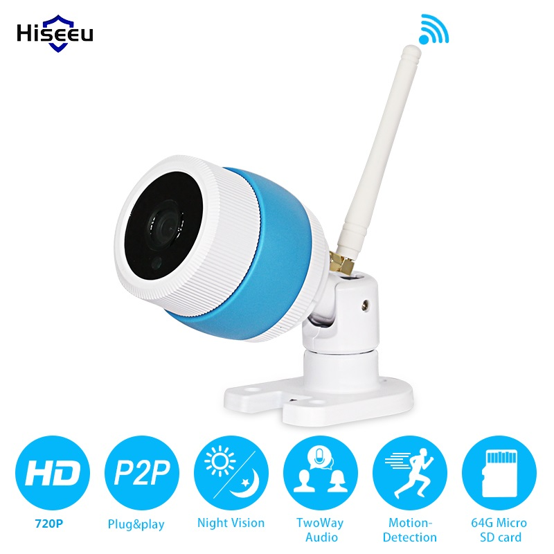 wi-fi Network 720P IP Camera wireless Night Vision Security Cam HD Cctv P2P H.264 Android IOS Windows hiseeu