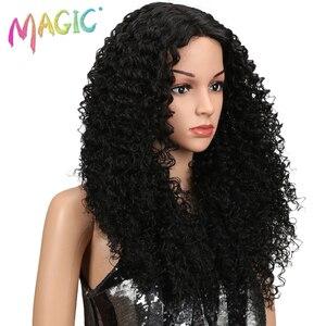 """Image 3 - マジックヘア 26 """"インチ合成レースフロント黒かつらアフリカ系アメリカ人の変態カーリー耐熱繊維かつらのための黒人女性"""