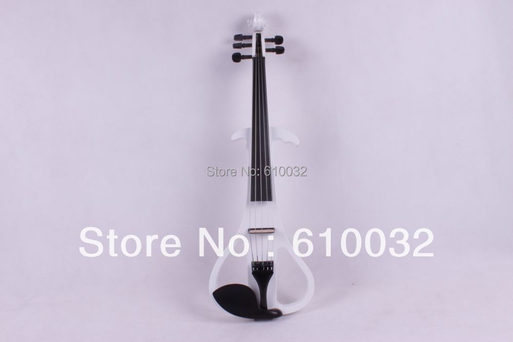 white 4/4 Electric Violin Solid wood 4 --0 1# silvery white color 5 string 4 strings new 4 4 electric violin silent pickup fine tone parts include new golden color 5 22 red color