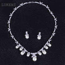 LUKENI Luxurious Europe Style White Color AAA Zircon Geometric flowers Simulated pearl Earrings And Chain Necklaces Wedding Jewe