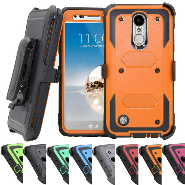 cheaper ec482 fb8c9 US $4.82 16% OFF|Heavy Duty Armor Case Holster Belt Clip Kickstand Hard  Shell Shockproof Cover For LG Aristo MS210/LV3/K8 2017/Phoenix  3/Fortune@-in ...