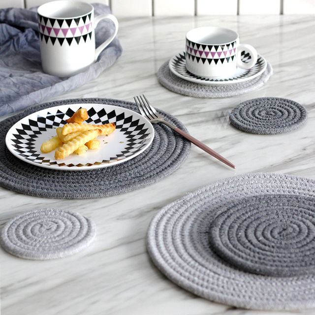 7071a665ef3 Placemat Pad Coasters Kitchen Table Mats Cotton Linen Knitting Bowl Mats  Padding Mat Insulation Pad Round Placemats Hand-made