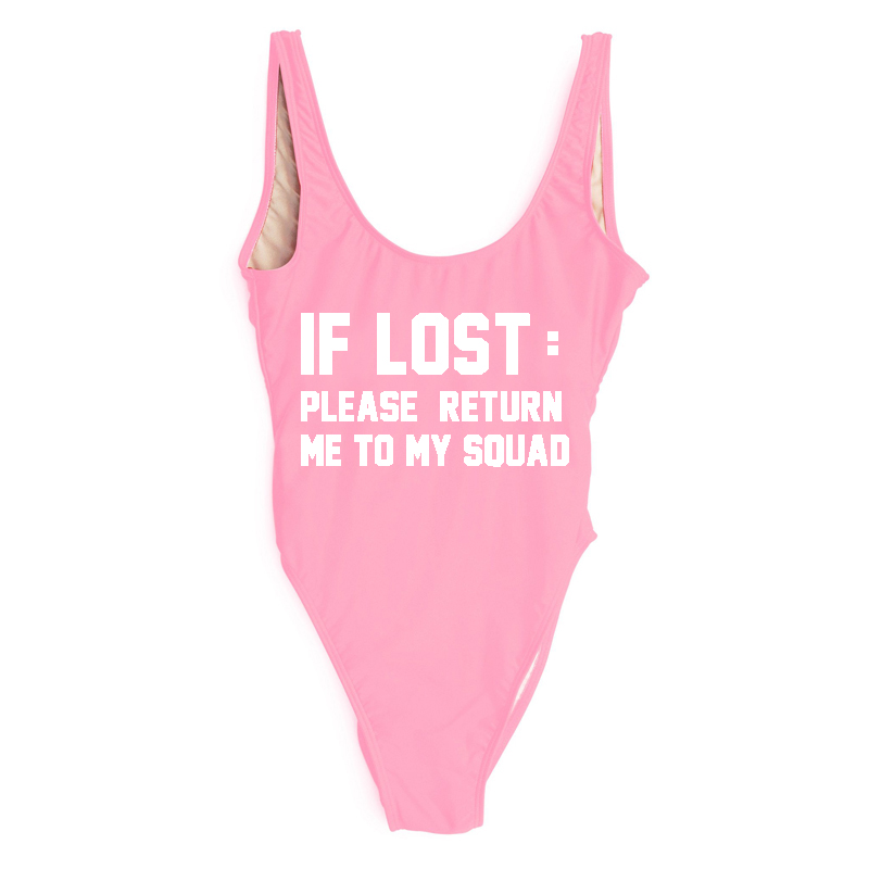 25aecb0278c One Piece Swimsuit Sexy Swimwear Women IF LOST:PLEASE RETURN ME TO MY SQUAD  Summer Bathing Suit High Cut Plus Size Beachwear Red-in Body Suits from  Sports ...