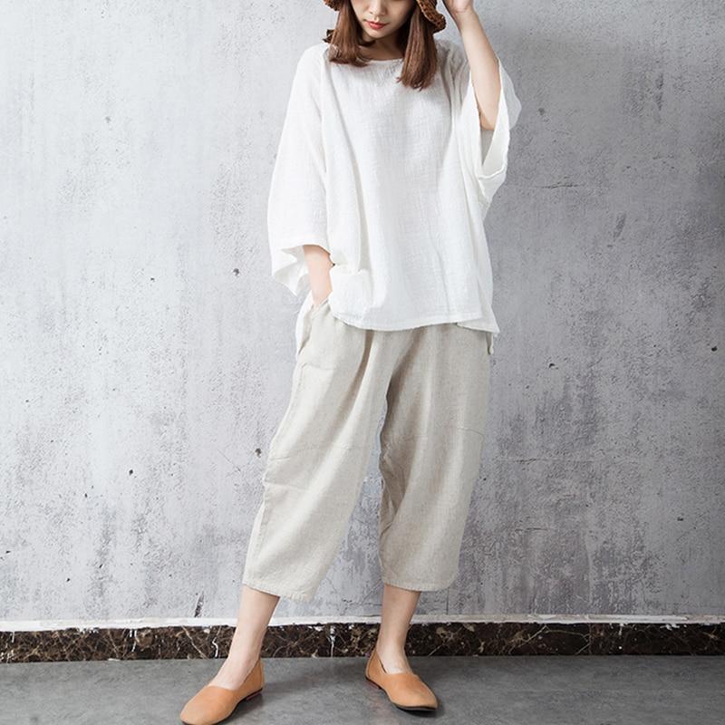 Blouses ZANZEA Summer Blouse 2018 Women Round Neck Batwing Sleeve Shirt Cotton Linen Top Baggy Blusas Work White Blusa Plus Size