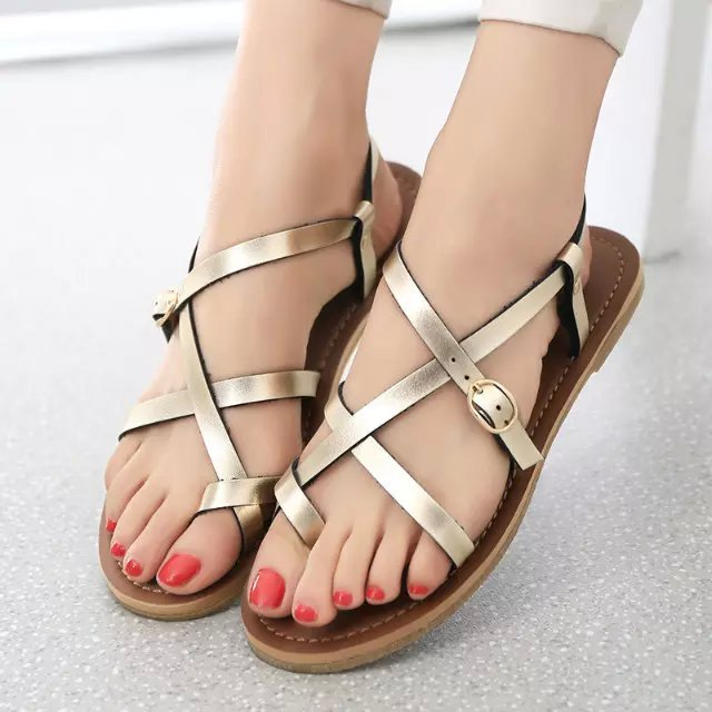 27b16e1946b139 gold strappy flat sandals sandalias planas silver black shoes doradas women  2015 sandal romanas woman summer andales ankle white