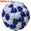 New Royal Blue White Color Pearl Beaded Bridal Bouquets Simple Hand Holding Bow Flowers Wedding Bouquets Multi-Colors W322