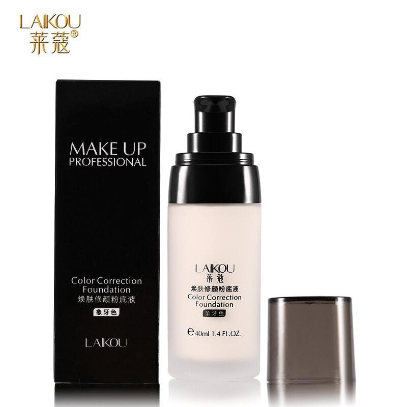 LAIKOU Brand Makeup Base Face Liquid Foundation BB Cream Concealer Whitening Moisturizer Oil-control Waterproof Maquiagem 40g